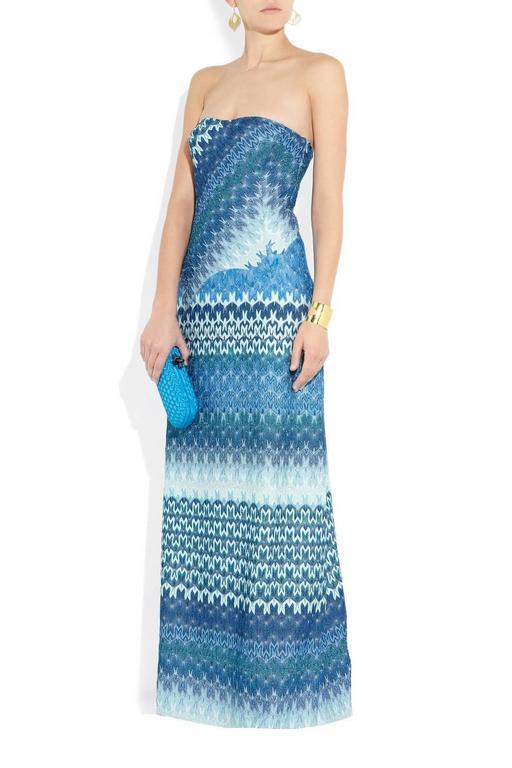 Missoni Metallic Seafoam Blue Crochet Knit Corset Evening Gown at ...