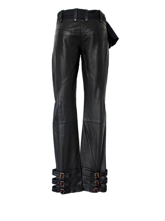 Finest John Galliano Buckle Silk Lambskin Leather Pants 2
