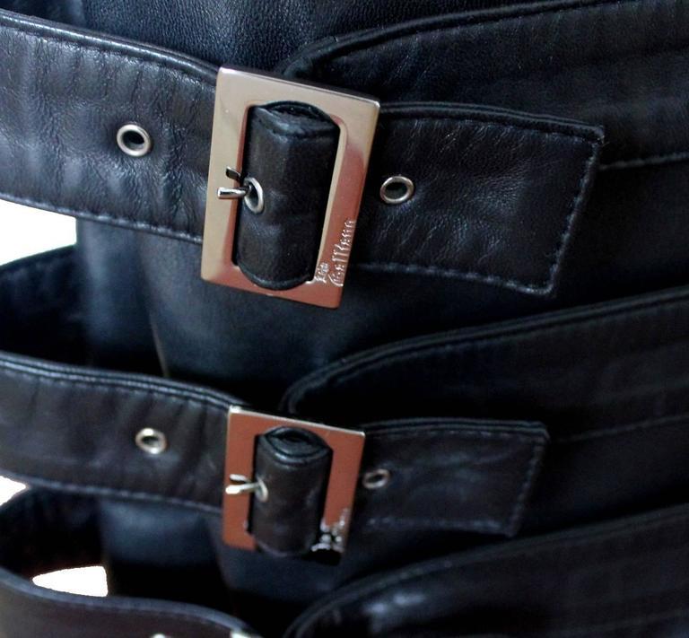 Finest John Galliano Buckle Silk Lambskin Leather Pants 4