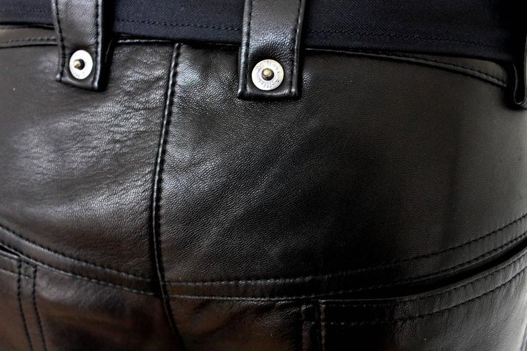 Finest John Galliano Buckle Silk Lambskin Leather Pants 3