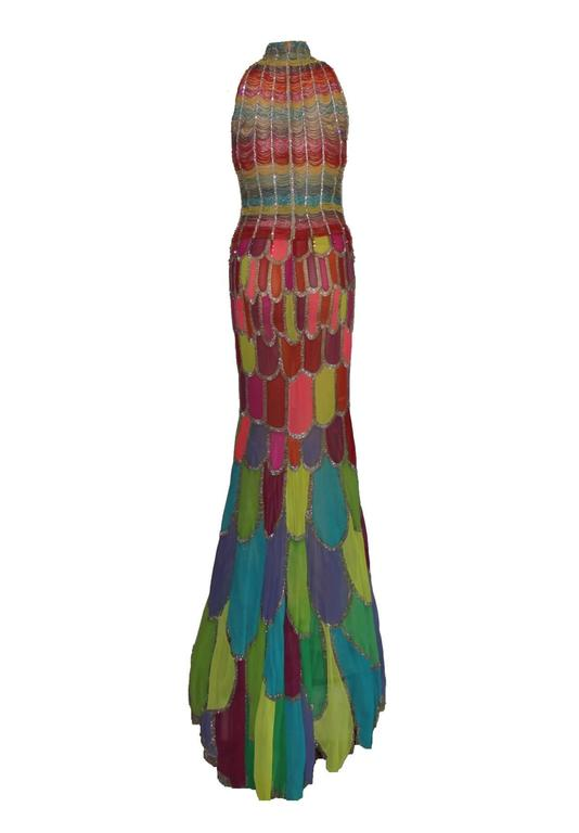 Atelier Versace Multicolor Beaded Silk Evening Mermaid Gown Dress 4