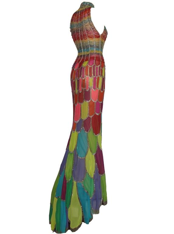 Atelier Versace Multicolor Beaded Silk Evening Mermaid Gown Dress 3
