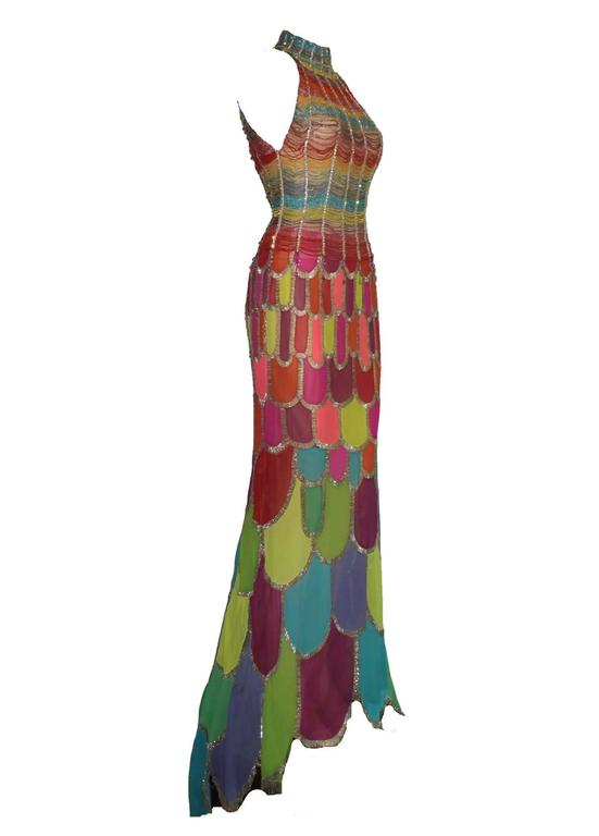 Breathtaking Atelier Versace Multicolor Beaded Silk Evening Mermaid Gown Dress 2