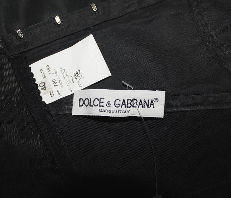 Amazing 1989 Documented Black Dolce & Gabbana Corset Top For Sale 1