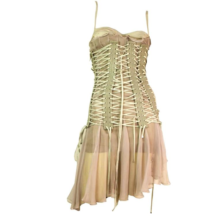 Iconic Dolce & Gabbana Lace Up Cage Leather & Silk Corset Dress