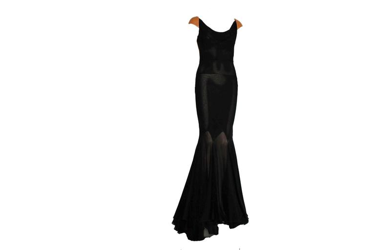 Fantastic Gianni Versace Couture Belted Black Silk & Leather Gown In New never worn Condition For Sale In Switzerland, CH