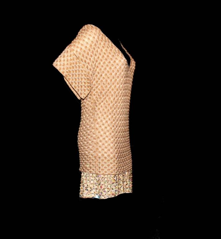 UNIQUE & LUXURIOUS  MISSONI ORANGE LABEL METALLIC GOLD LUREX DRESS WITH STUNNING CRYSTALS & BEADING  A CLASSIC MISSONI SIGNATURE PIECE THAT WILL LAST YOU FOR YEARS  DETAILS:      Beautiful gold lurex MISSONI dress from MISSONI main line     Classic
