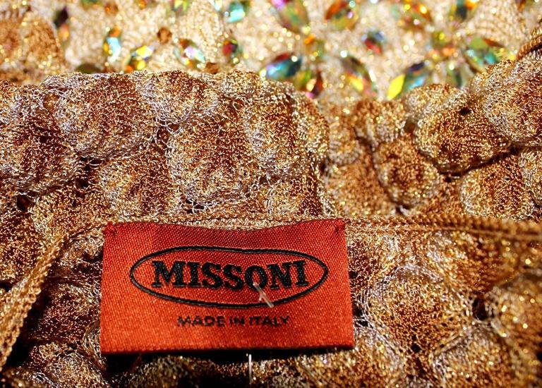 Missoni Gold Metallic Crochet Knit Beaded Crystal Dress For Sale 2