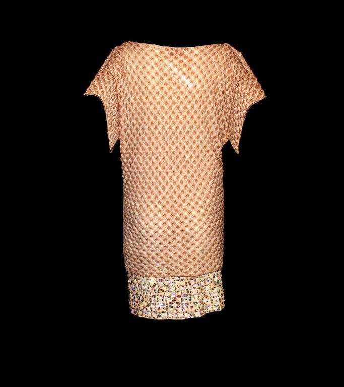 Women's Missoni Gold Metallic Crochet Knit Beaded Crystal Dress For Sale
