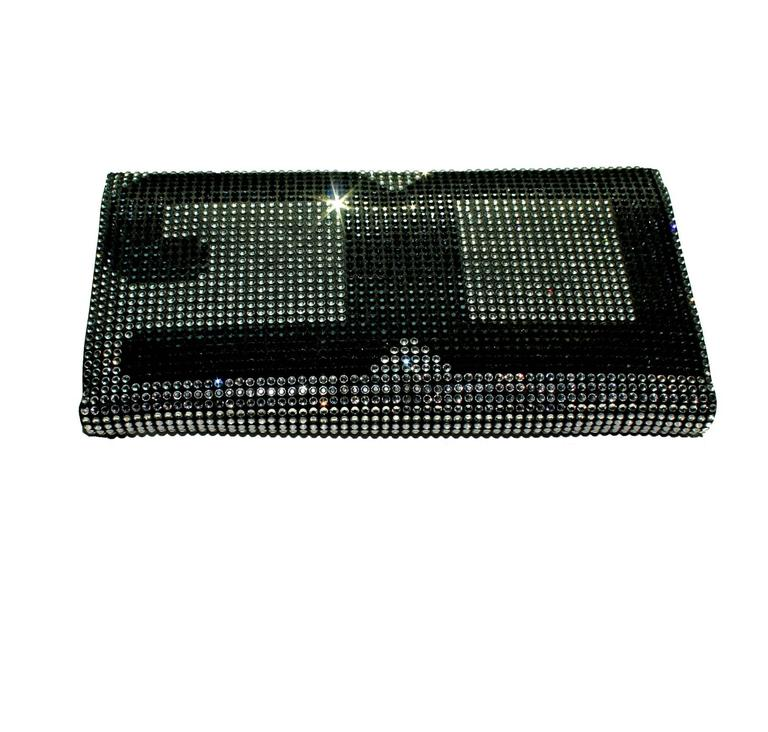 Black Stunning Dolce Gabbana Crystal Silk Evening Bag Clutch For Sale