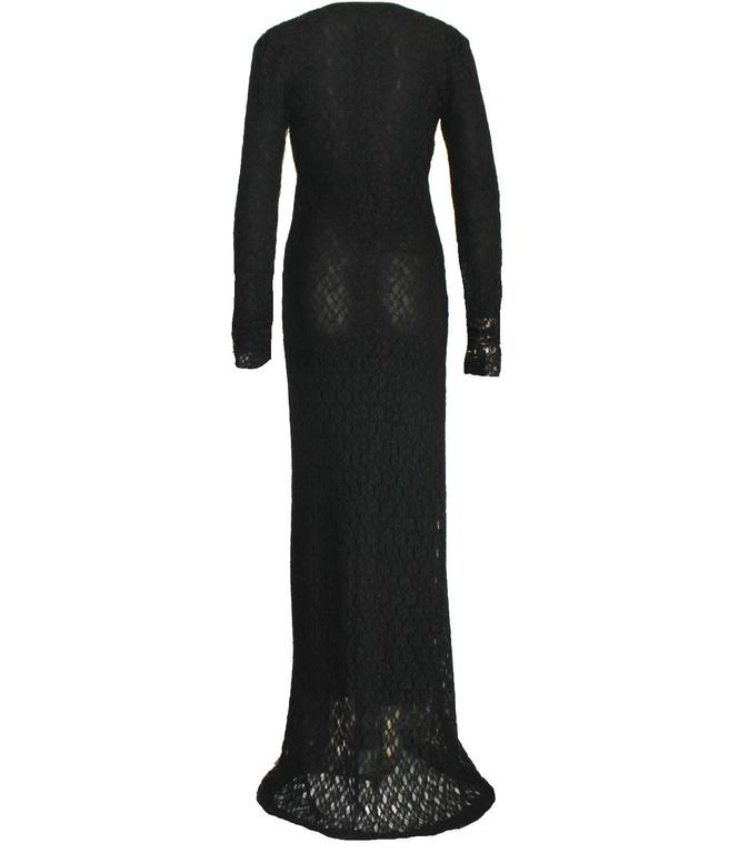 Vintage 1990s Dolce & Gabbana Black 3D Crochet Knit Evening Gown Dress In Excellent Condition For Sale In Switzerland, CH