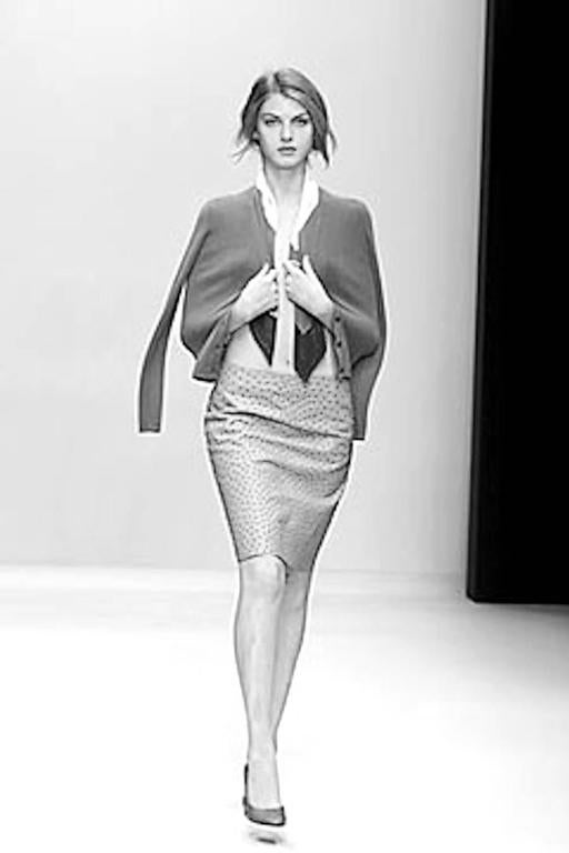 Prada Ivory Exotic Ostrich Skin Skirt For Sale 5