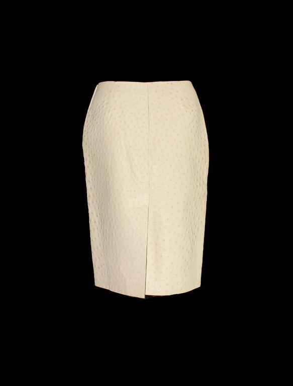 A stunning Ostrich Skin Skirt in fabulous ivory color Timeless elegance in the most exclusive exotic skin The skirt is approximately knee-length and slightly flared It has a vent in the back Ostich skirts were featured in Prada's iconic FW 2015-2016