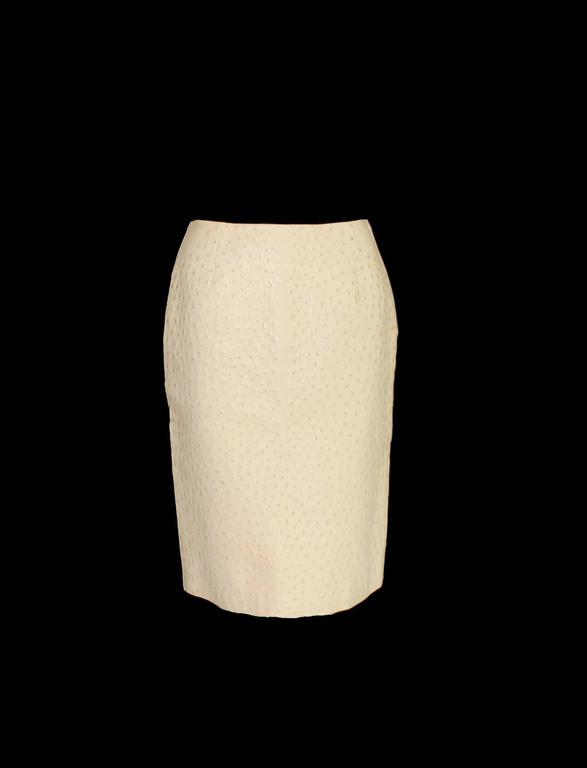 Prada Ivory Exotic Ostrich Skin Skirt In New Condition For Sale In Switzerland, CH