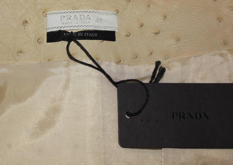 Prada Ivory Exotic Ostrich Skin Skirt For Sale 2