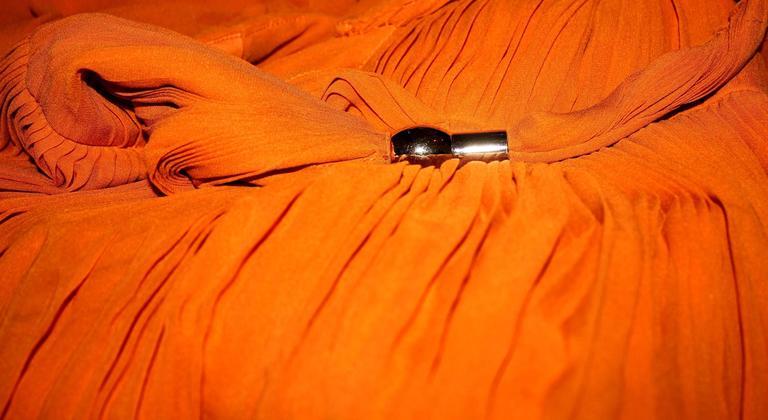 Orange Blake's Stunning Gucci Plissee Evening Gown Dress For Sale