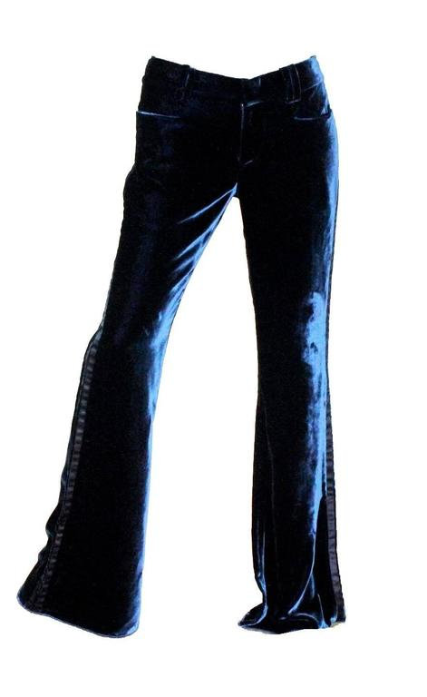 Gucci by Tom Ford 2004 Midnight Blue Velvet Tuxedo Smoking Trousers Pants 2