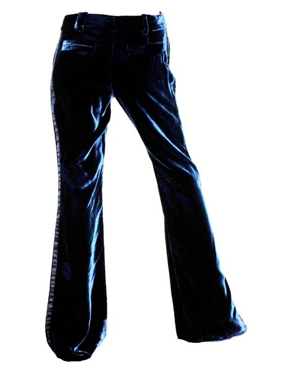 Gucci by Tom Ford 2004 Midnight Blue Velvet Tuxedo Smoking Trousers Pants 3