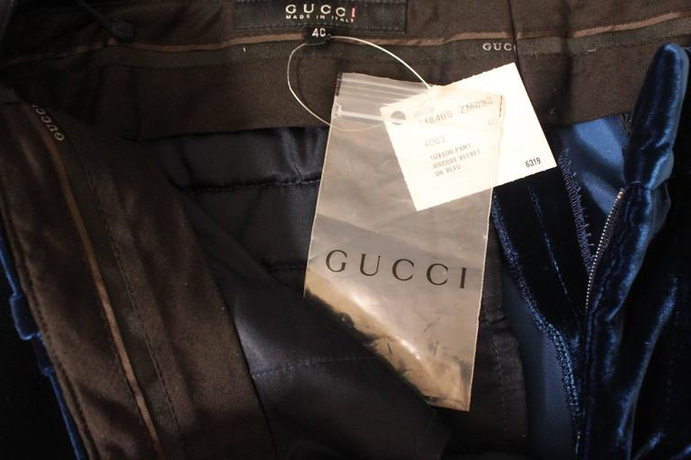 Gucci by Tom Ford 2004 Midnight Blue Velvet Tuxedo Smoking Trousers Pants 5
