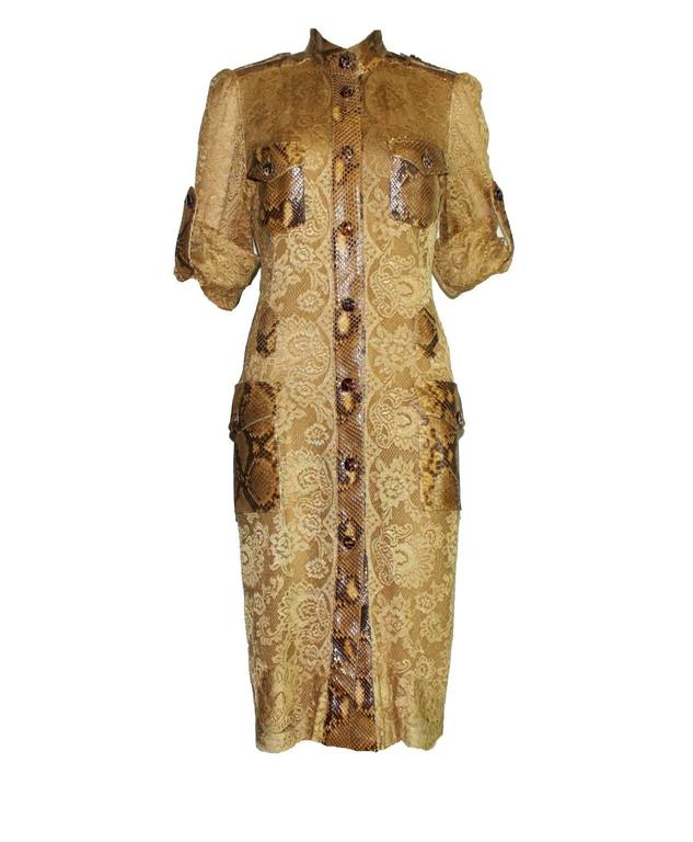 Unique Dolce & Gabbana Python Snakeskin Lace Tortoise Dress Gown 2