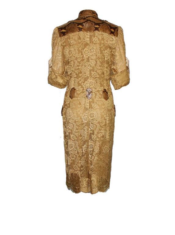 Unique Dolce & Gabbana Python Snakeskin Lace Tortoise Dress Gown 3