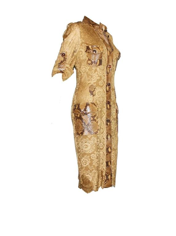Unique Dolce & Gabbana Python Snakeskin Lace Tortoise Dress Gown 4