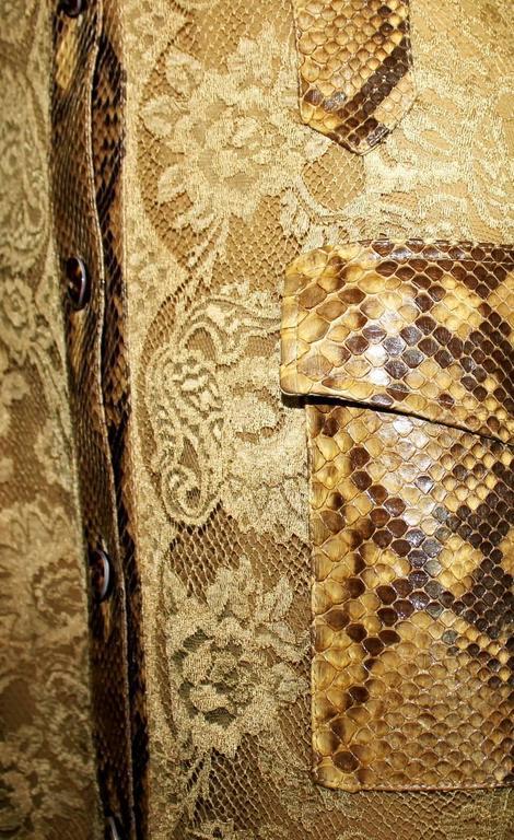 Unique Dolce & Gabbana Python Snakeskin Lace Tortoise Dress Gown 6