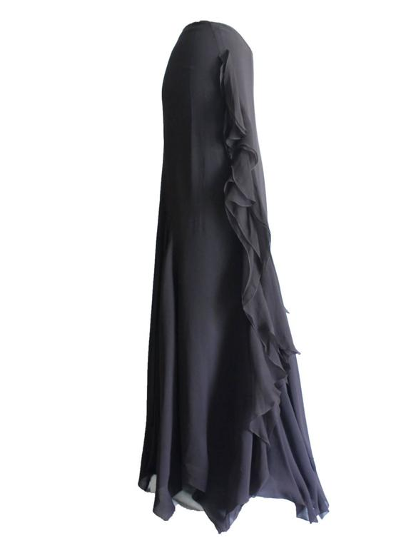 Dior Finest Full Length Ruffled Chiffon Silk Maxi Skirt ...