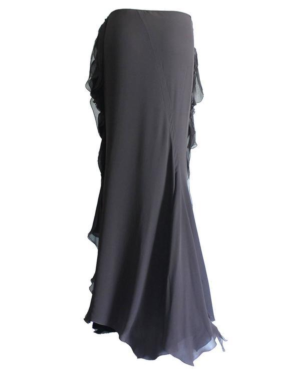 Dior Finest Full Length Ruffled Chiffon Silk Maxi Skirt  3