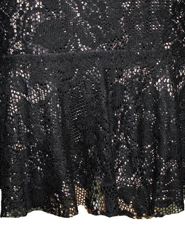 Fantastic Dolce Gabbana Crochet Knit Lace Print Silk Dress 5