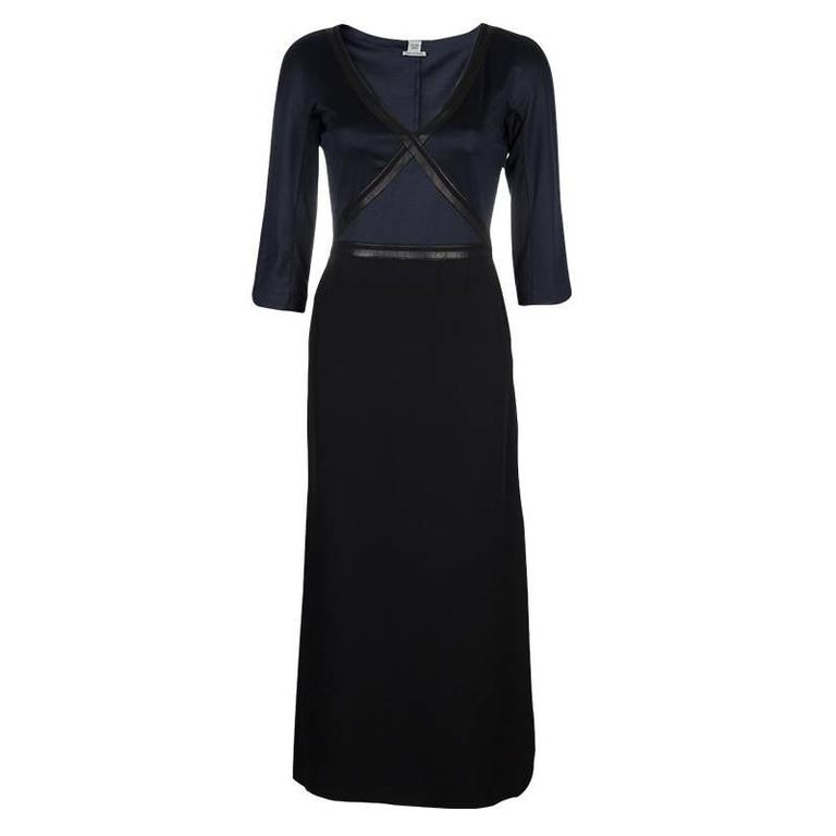 Black Hermes Silk and Leather Maxi Dress For Sale