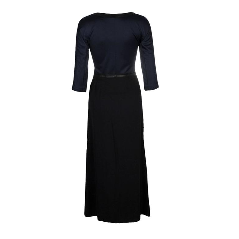 Stunning silk & leather maxi dress by Hermes V-Neck Lambskin trimming Special Dry Cleaning Made in France Recent Collection Retail Price 5489$