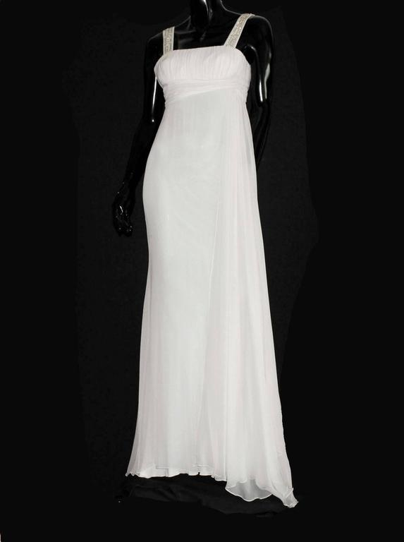 Versace silk chiffon crystal grecian meander evening gown for Grecian chiffon wedding dress