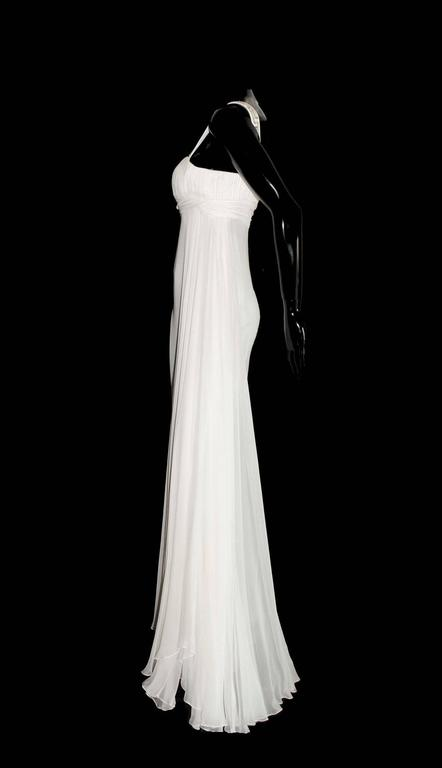 Gray Versace Silk Chiffon Crystal Grecian Meander Evening Gown Wedding Dress For Sale