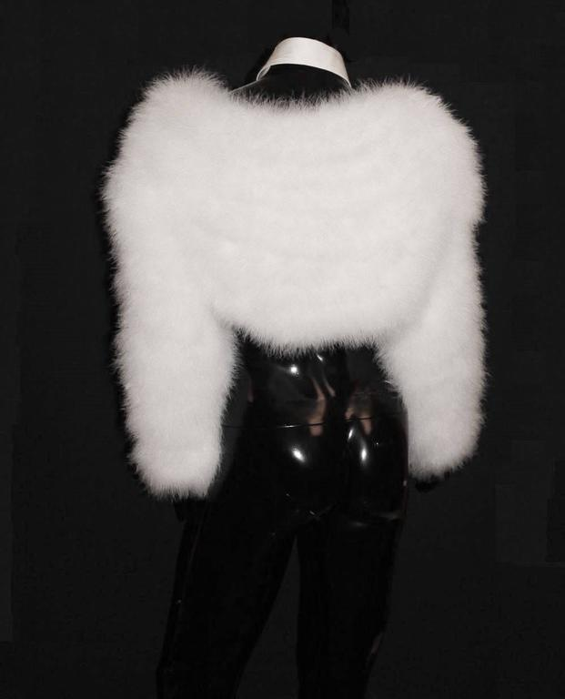 Gucci by Tom Ford SS 2004 White Marabou Feather Bolero Jacket 4