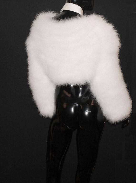 Gucci by Tom Ford SS 2004 White Marabou Feather Bolero Jacket 2