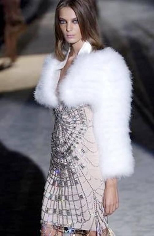 Gucci by Tom Ford SS 2004 White Marabou Feather Bolero Jacket 9