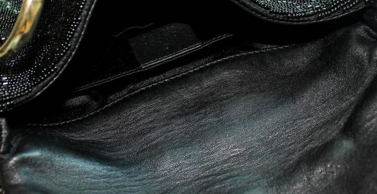 Women's Rare Gucci GG Monogram Beaded Crystal & Lizard Bamboo Chain Horsebit Bag Clutch For Sale