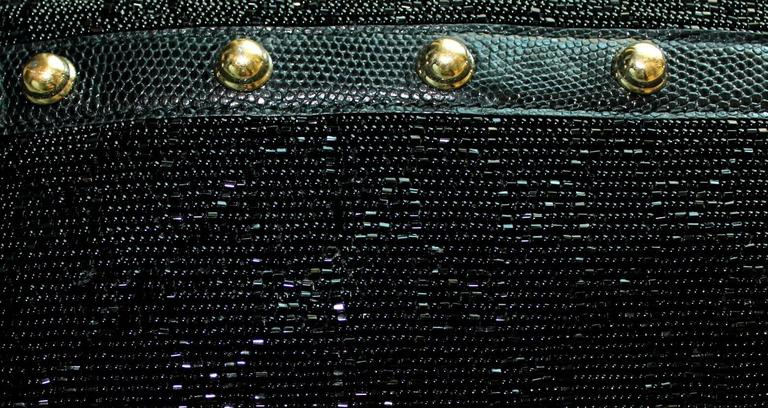 Black Rare Gucci GG Monogram Beaded Crystal & Lizard Bamboo Chain Horsebit Bag Clutch For Sale