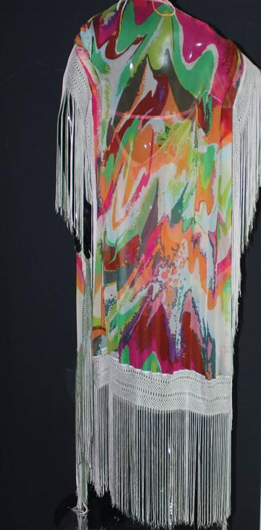Fringed Missoni Silk Mini Dress with Cape In Good Condition For Sale In Switzerland, CH