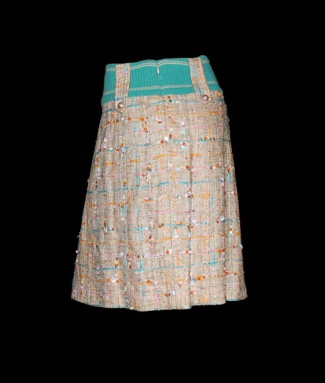Chanel Faux Wrap Lesage Fantasy Tweed Skirt with Embroideries and Pearl Buttons 4