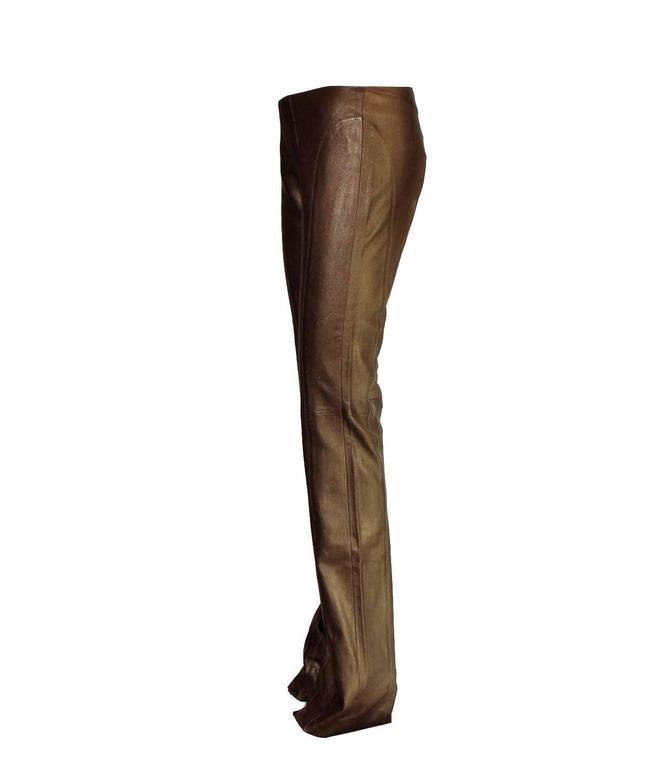 Amazing Chocolate Brown Metallic Stretch Leather Pants Leggings 2