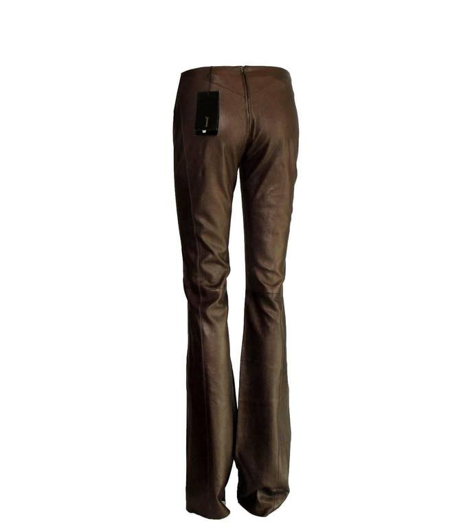 Black Amazing Chocolate Brown Metallic Stretch Leather Pants Leggings For Sale