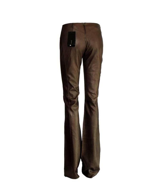 Amazing Chocolate Brown Metallic Stretch Leather Pants Leggings 3