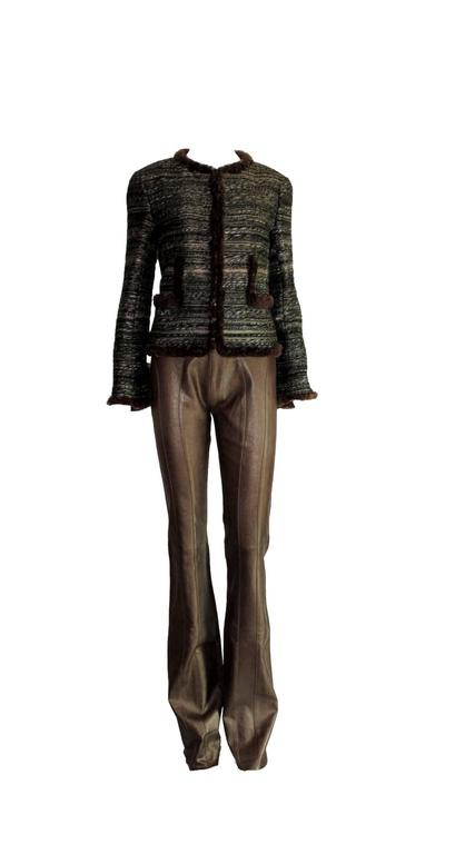 Amazing Chocolate Brown Metallic Stretch Leather Pants Leggings 5