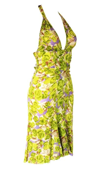 Brown Teri's Stunning Versace Ruched Rose Print Silk Dress For Sale