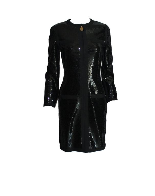 Women's Amazing Black Chanel Sequin Silk Evening Dress Coat Jacket For Sale