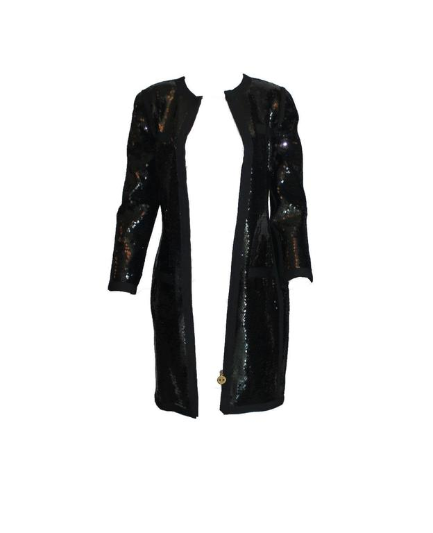 Amazing Black Chanel Sequin Silk Evening Dress Coat Jacket In Excellent Condition For Sale In Switzerland, CH