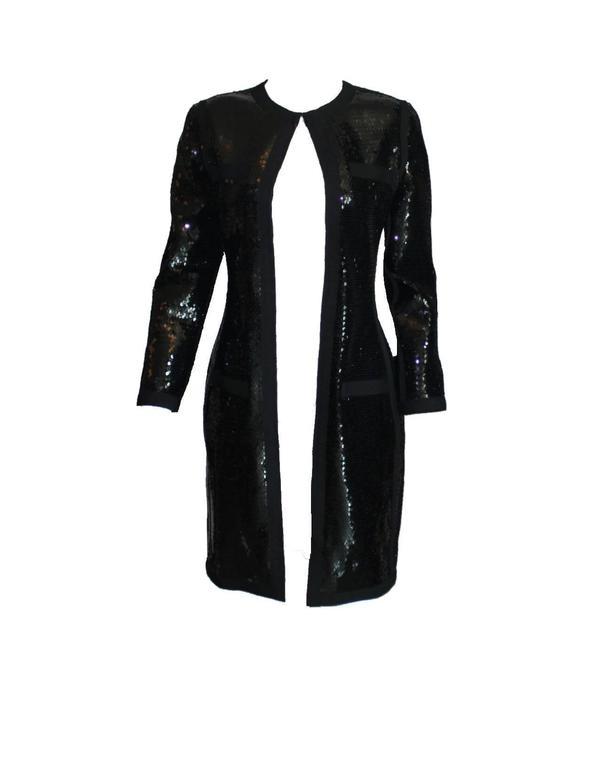 Amazing Black Chanel Sequin Silk Evening Dress Coat Jacket 2
