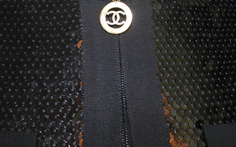 Amazing Black Chanel Sequin Silk Evening Dress Coat Jacket 7